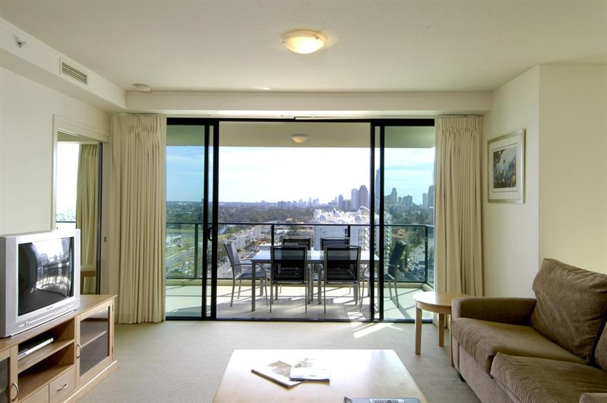 2 Bedroom Apartment Lounge And Balcony  Mantra Broadbeach On The Park
